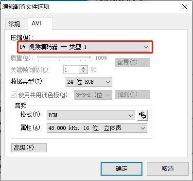 编辑配置文件选项卡AVI属性