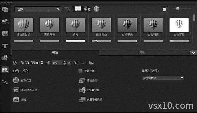 视频选项面板