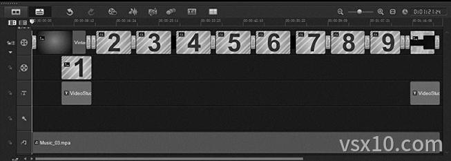 在时间轴面板中插入即时项目主题模板