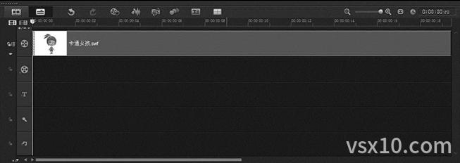 会声会影x9拖拽flash动画至视频轨的合适位置